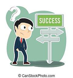 homem negócios, direção, confundir, estrada, sucesso