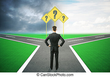homem negócios, direção diferente, escolher