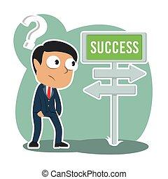 homem negócios, direção, indianas, confundir, sucesso