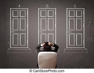 homem negócios, direita, porta, escolher