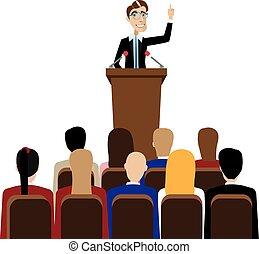 homem negócios, discurso público