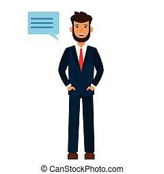 homem negócios, diz, olá, caricatura, apartamento, vetorial, ilustração, conceito, ligado, isolado, fundo branco
