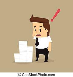homem negócios, documentos, lote