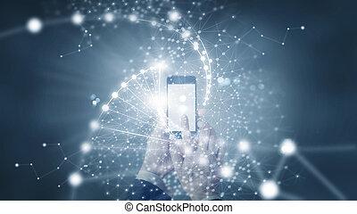 homem negócios, e, abstratos, rede, conexão, ligado, experiência escura