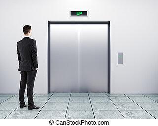 homem negócios, e, elevador