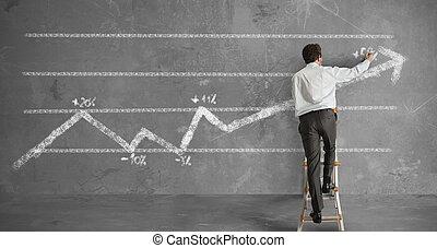 homem negócios, e, estatísticas, tendência