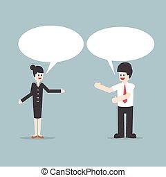 homem negócios, e, falar mulher, com, fala, bolhas