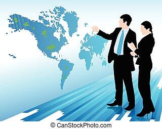 homem negócios, e, mulher olha, em, um, mundo digital, mapa