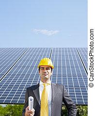 homem negócios, e, solar, painéis