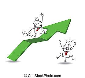 homem negócios, Econômico, crescimento