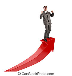 homem negócios, econômico, exults, sucesso