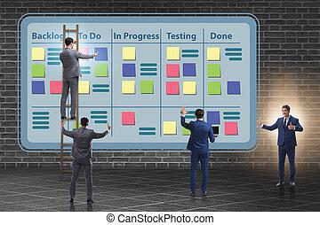 homem negócios, em, ágil, métodos, conceito