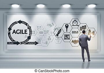 homem negócios, em, ágil, software, desenvolvimento, conceito