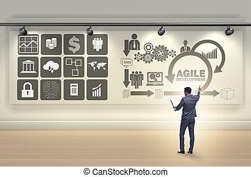 homem negócios, em, ágil, software, desenvolvimento,...