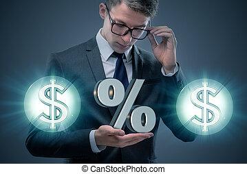 homem negócios, em, alto, taxas juros, conceito