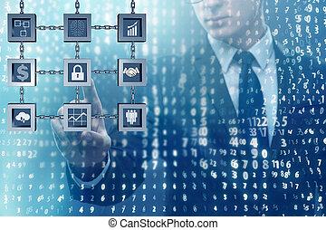 homem negócios, em, blockchain, cryptocurrency, conceito