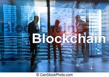homem negócios, em, blockchain, cryptocurrency, concept., meios misturados