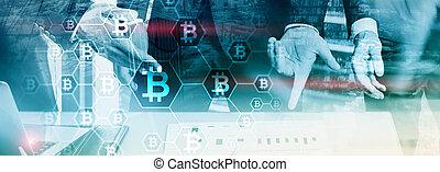 homem negócios, em, blockchain, cryptocurrency, concept., meios misturados, fundo