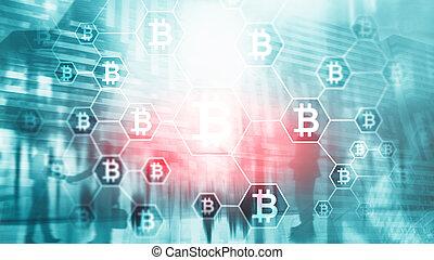 homem negócios, em, blockchain, cryptocurrency, concept., misturado, media.