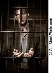 homem negócios, em, cadeia