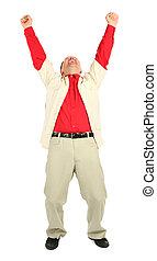 homem negócios, em, camisa vermelha, com, rised, mãos