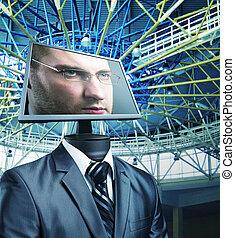 homem negócios, em, ciberespaço