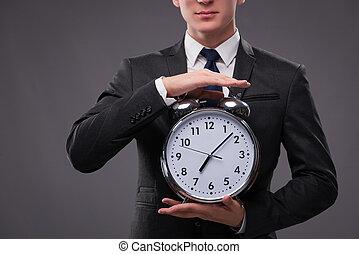 homem negócios, em, cronometre administração, conceito