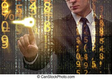 homem negócios, em, digital, segurança, conceito