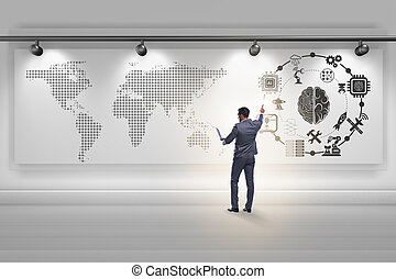 homem negócios, em, inteligência artificial, conceito