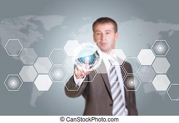 homem negócios, em, paleto, dedo, imprensas, virtual, botão