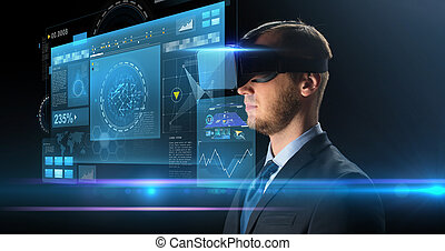 homem negócios, em, realidade virtual, óculos, ou, headset