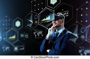 homem negócios, em, realidade virtual, headset, sobre, pretas