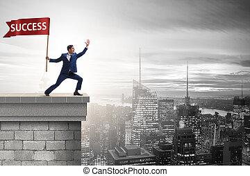 homem negócios, em, sucesso, conceito negócio