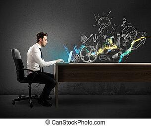 homem negócios, em, um, escrivaninhas, trabalhos, ligado,...