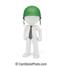 homem negócios, em, um, militar, capacete