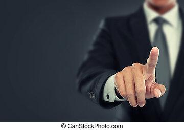 homem negócios, empurrão, para, virtual, tela