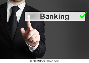 homem negócios, empurrar, botão, operação bancária