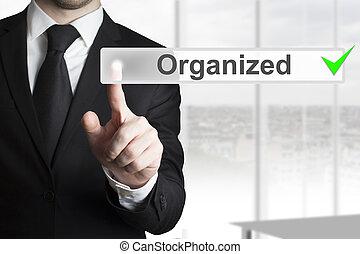 homem negócios, empurrar, botão, organizado