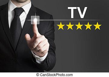 homem negócios, empurrar, botão, tv