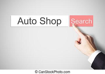 homem negócios, empurrar, vermelho, busca teia, botão, automático, loja