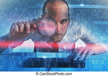 homem negócios, encontrado, um, backdoor, acesso, ligado, um, computer., conceito, de, segurança internet