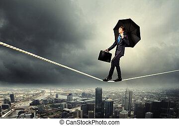 homem negócios, equilibrar, ligado, corda