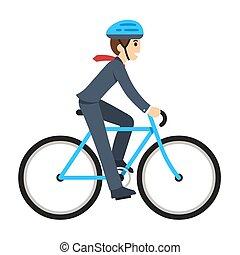 homem negócios, equitação bicicleta