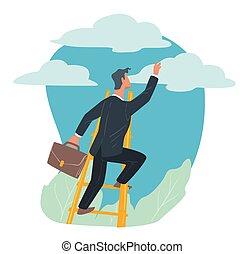 homem negócios, escada, crescimento, sucesso, carreira, escalando