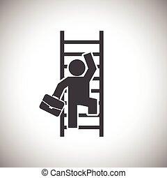 homem negócios, escada, escalando