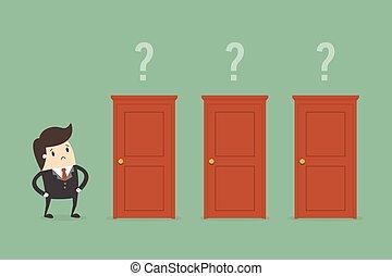 homem negócios, escolher, a, direita, door.