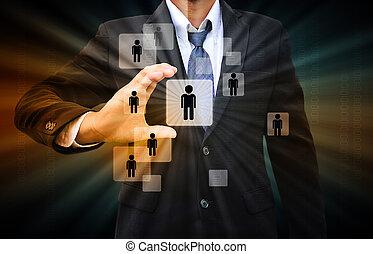 homem negócios, escolher, a, direita, pessoa