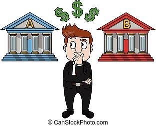 homem negócios, escolher, confundido, banco