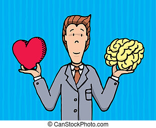 homem negócios, escolher, entre, coração, e, cérebro