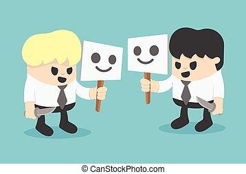 homem negócios, escondedouro, mask., conceito, caricatura, illustration.
